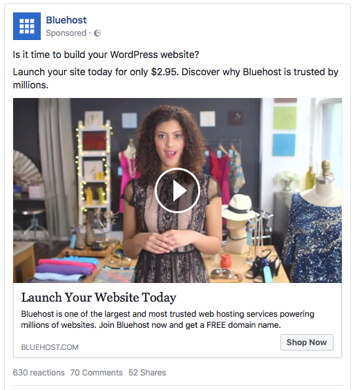 Facebook-ad-examples-value-proposition-BlueHost