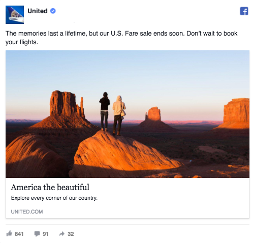 Facebook-ad-examples-value-proposition-UnitedAirlines