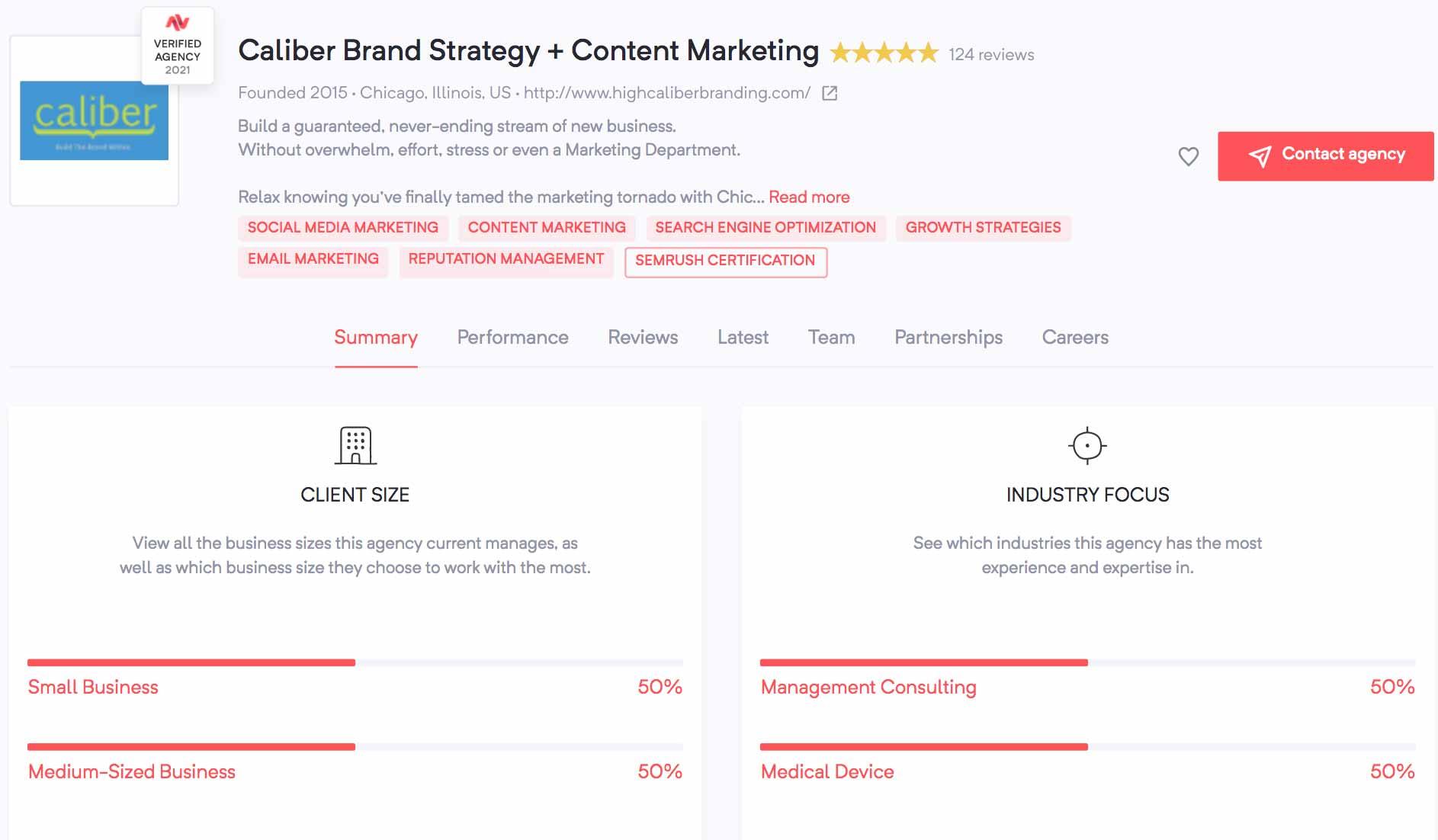 Caliber Brand Strategy + Content Marketing | Agency Vista