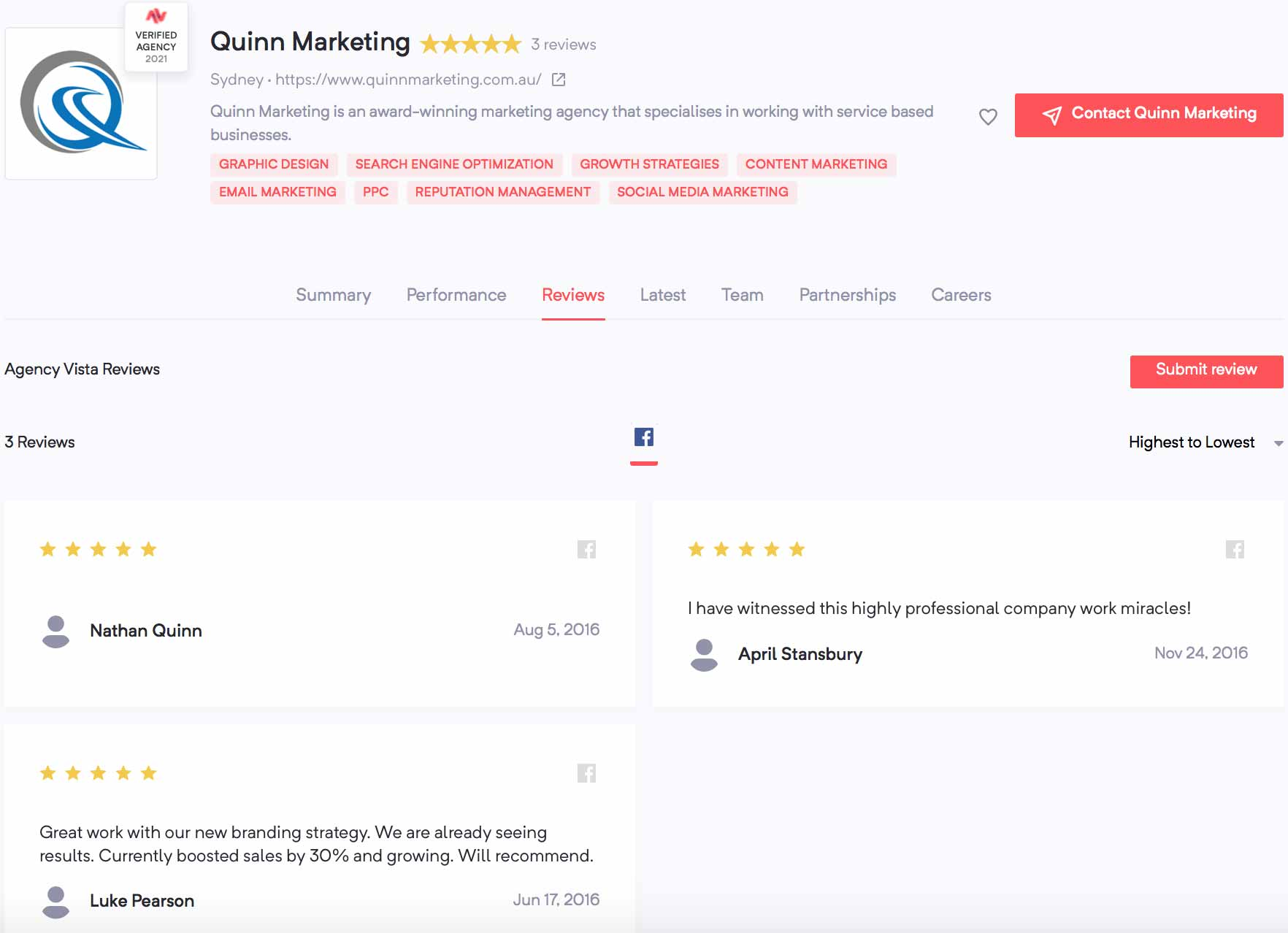 Quinn Marketing | Agency Vista