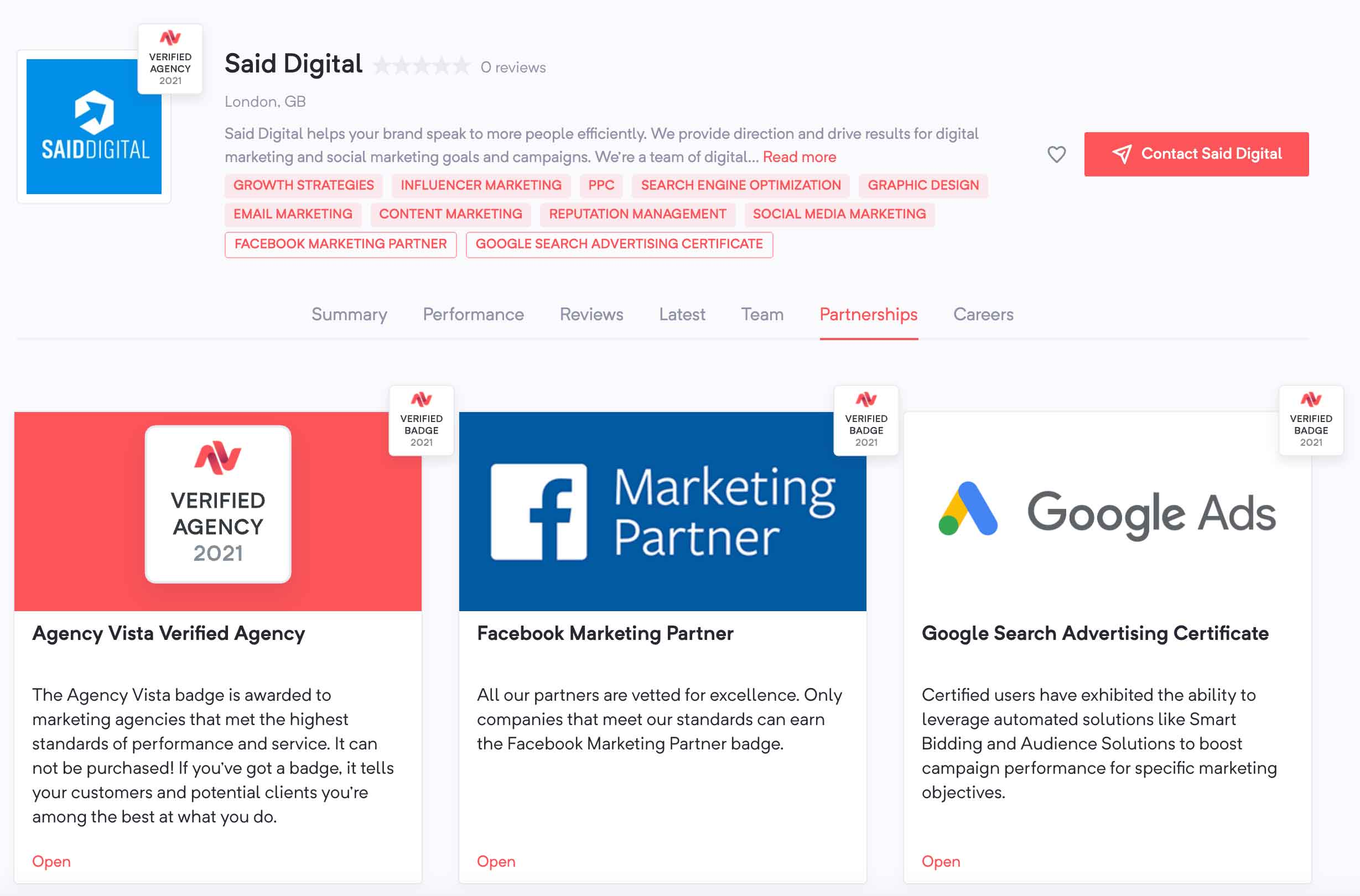 Said Digital Marketing Agency Partnerships | Agency Vista