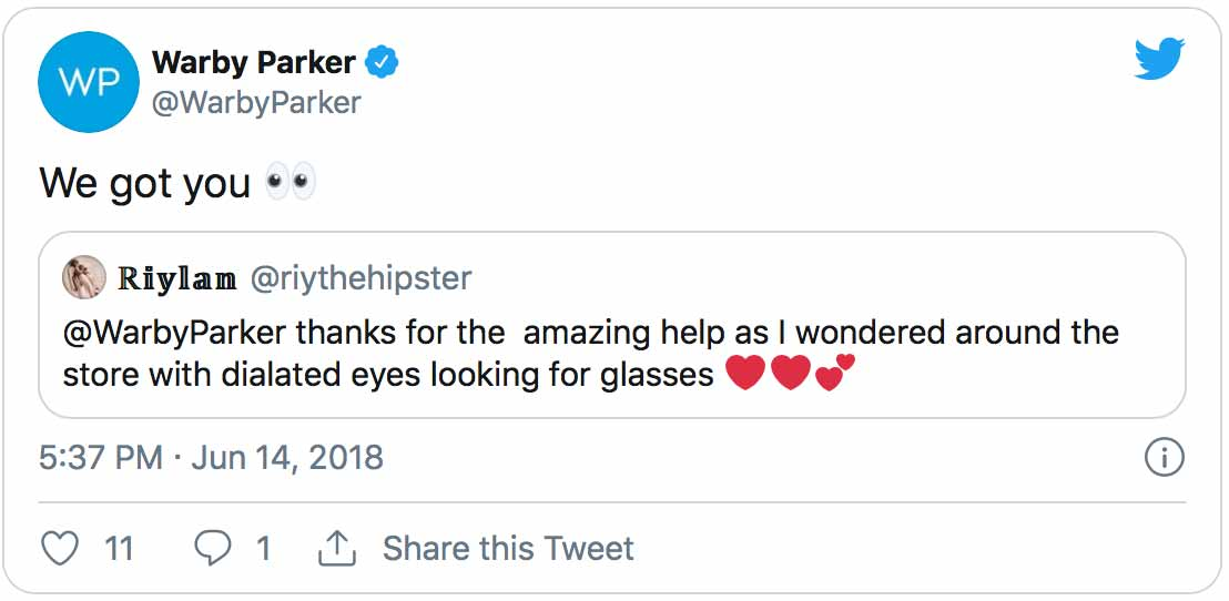 Warby Parker - Relevant Social Media Content - Agency Vista