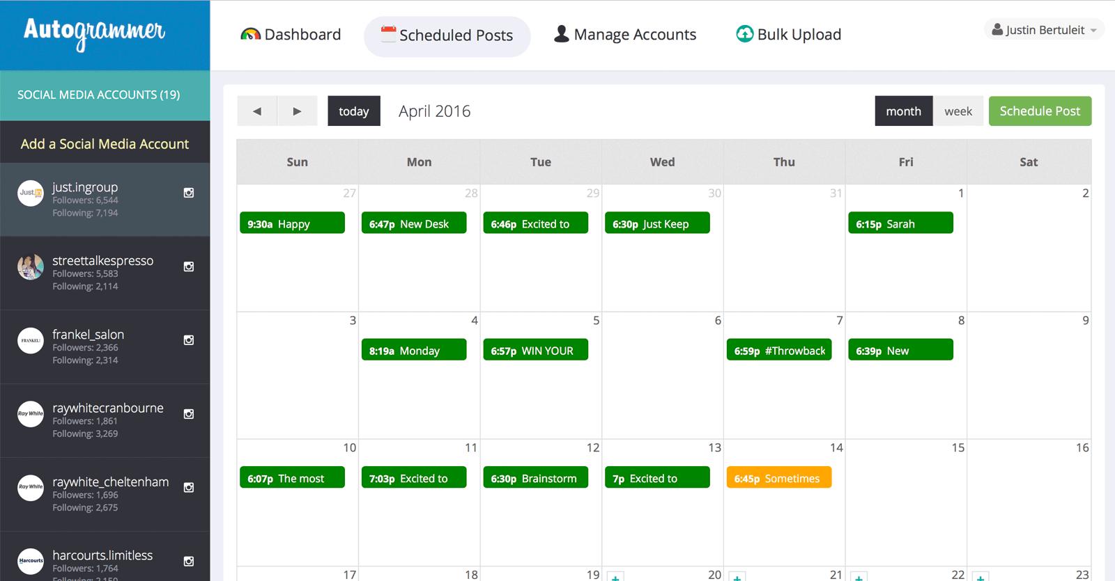 Instagram Scheduling Tools | Autogrammer | Agency Vista