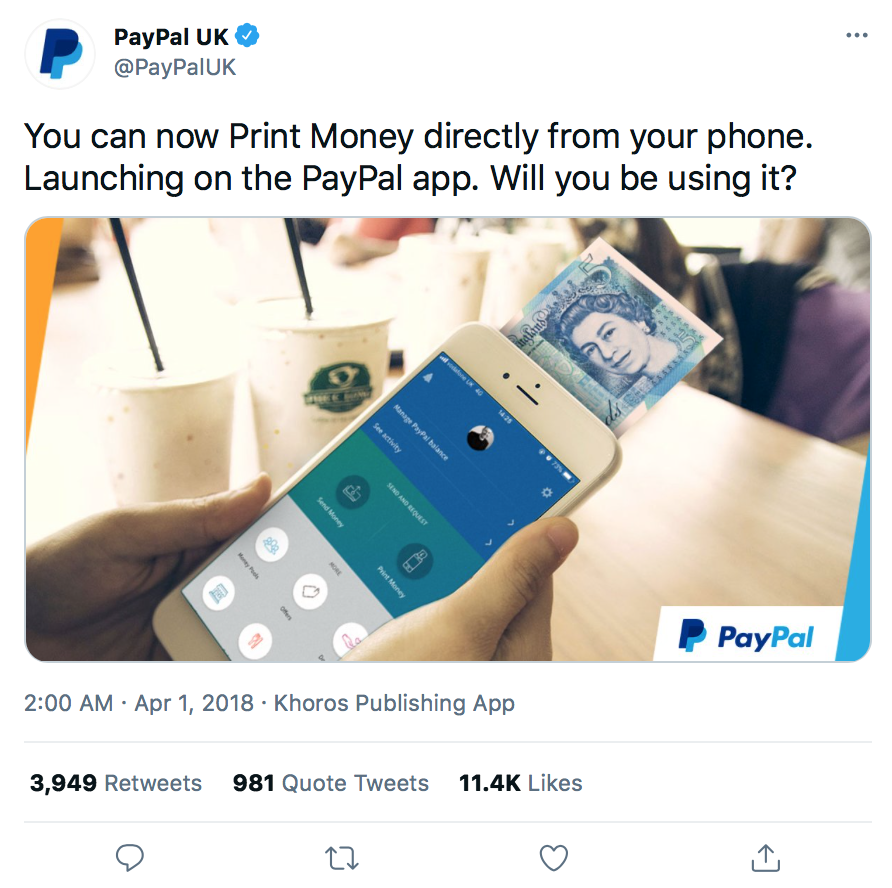 April Fool's Day Marketing | PayPal