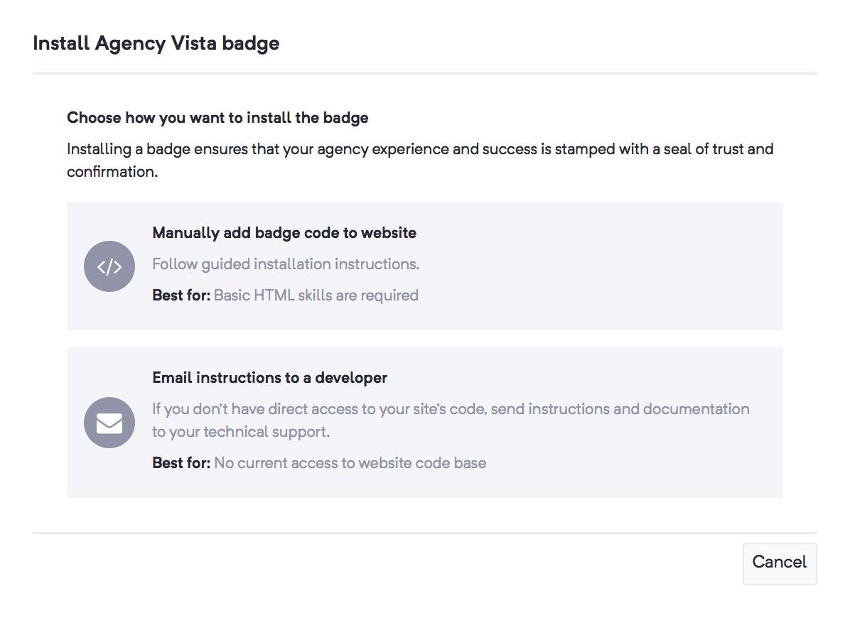 Installing the Agency Vista badge