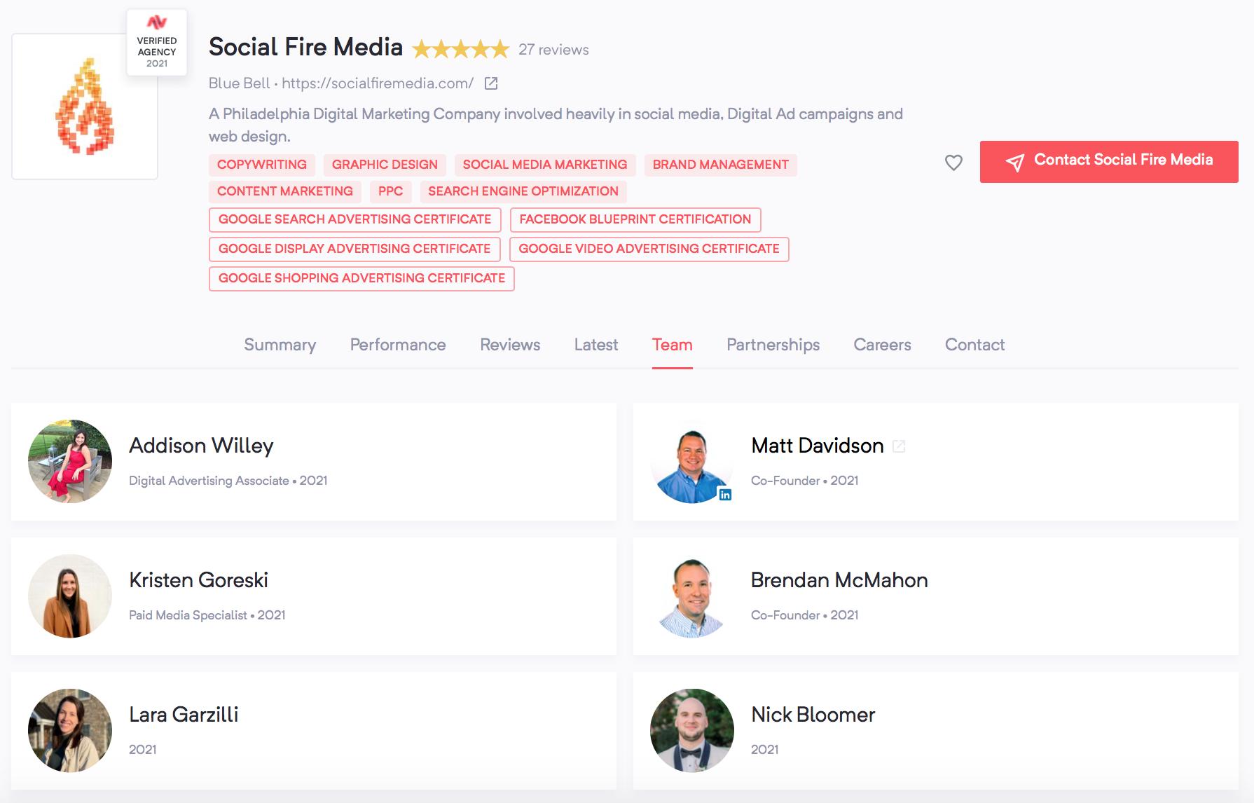 Hiring a Marketing Agency | Social Fire Media | Team Page | Agency Vista