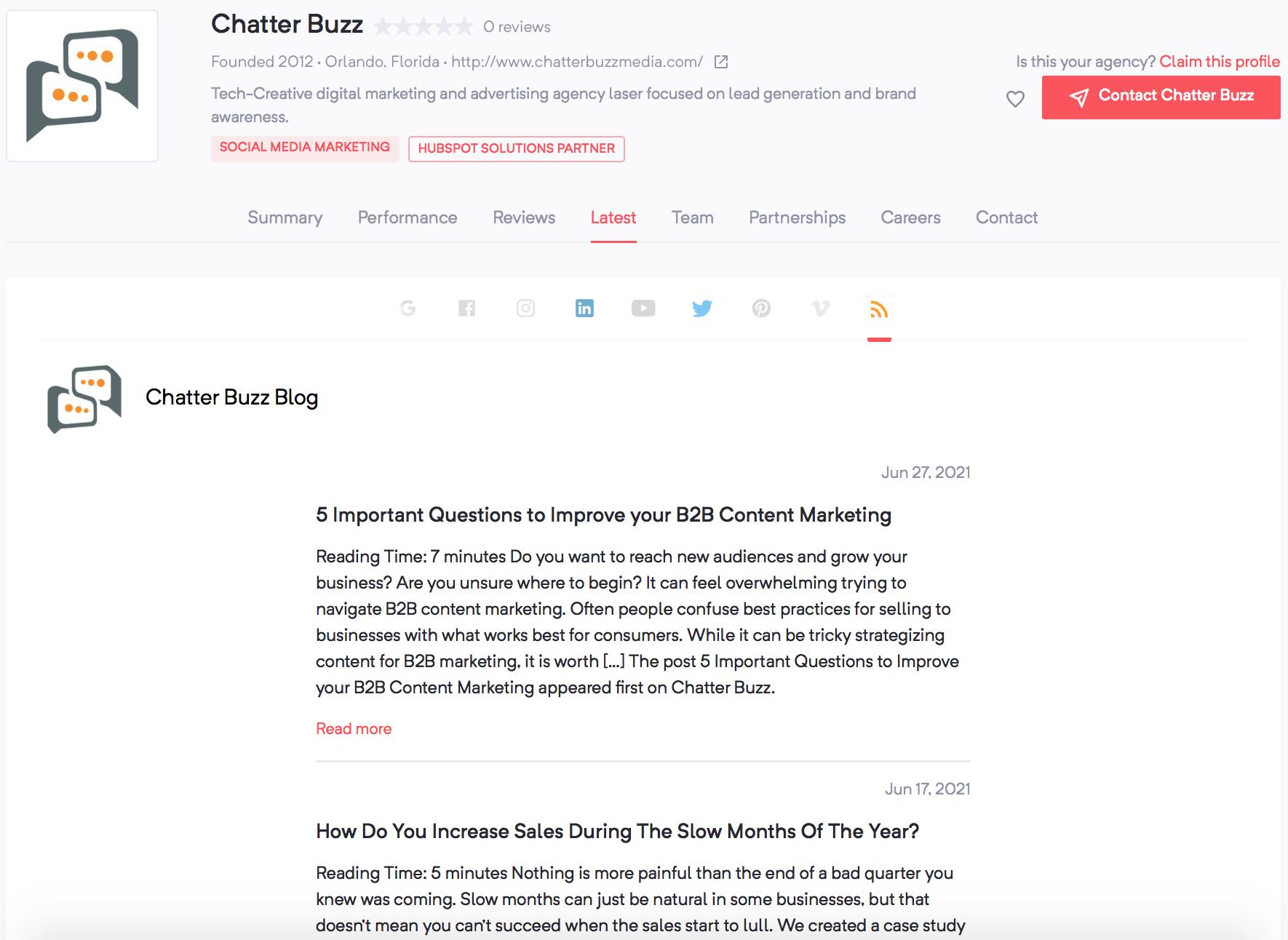 Chatter Buzz | Agency Vista