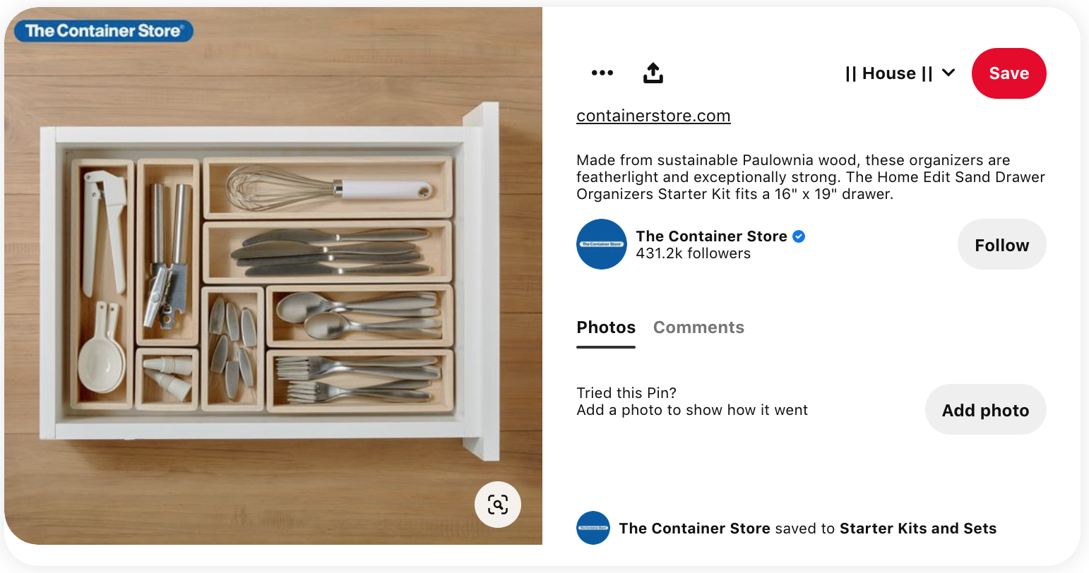 Excellent Branding Strategy: The Container Store Pinterest