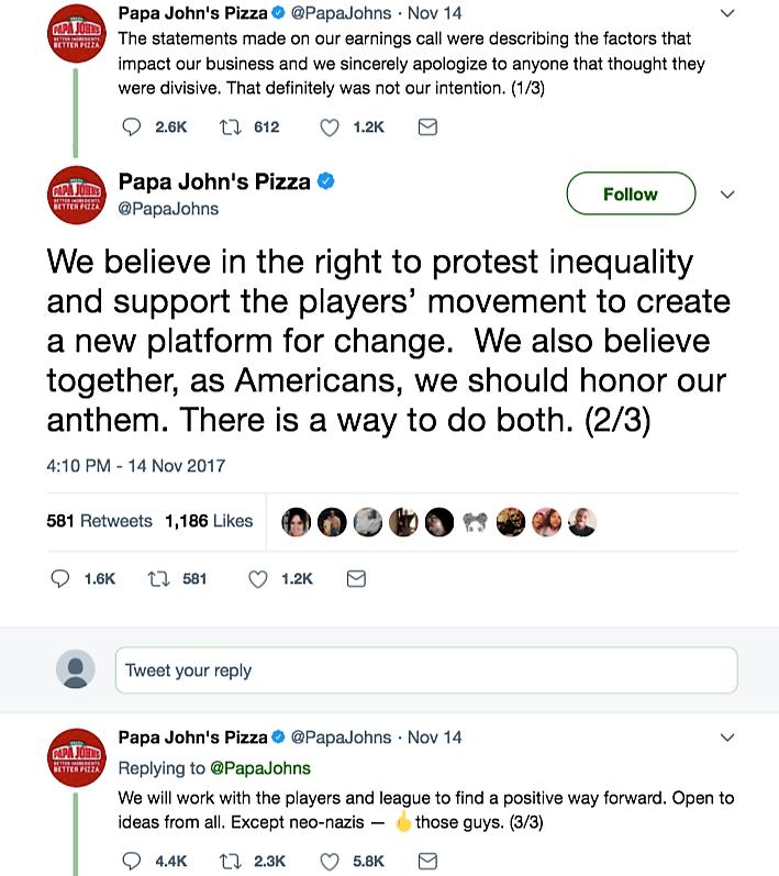 Corporate Apologies | Papa John's Pizza