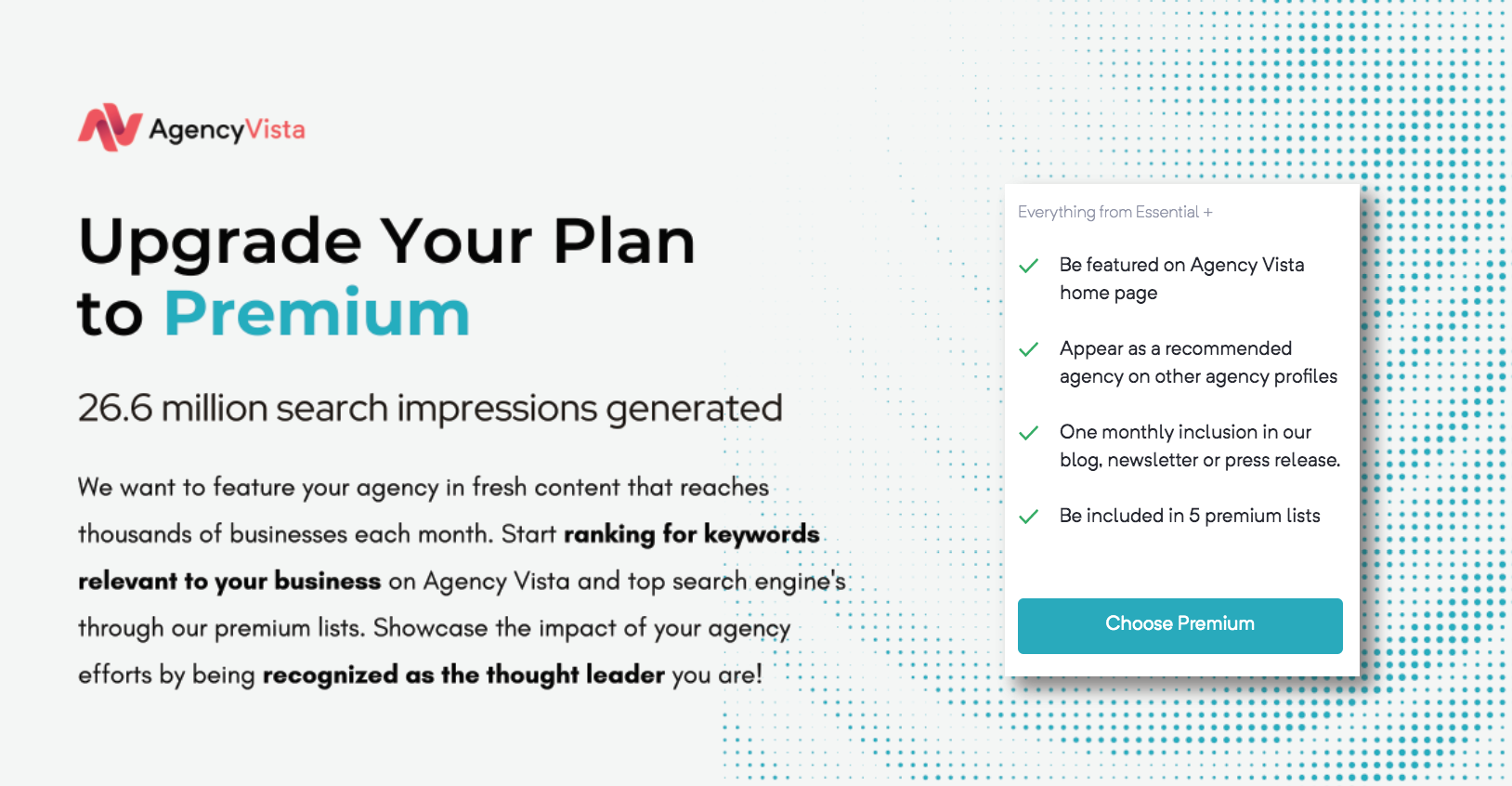 Agency Vista Upgrade Plan to Premium